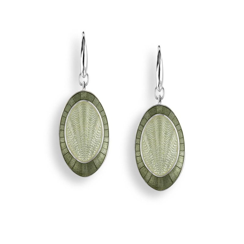 Nicole Barr Designs Green Oval Wire Earrings.Sterling Silver