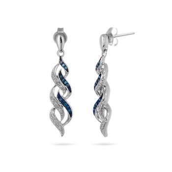 925 SS Blue and White Diamond Flame Design Dangling Earring