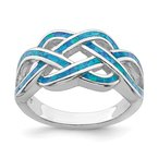 Quality Gold Sterling Silver Rhodium-plated Lab Created Blue Opal Inlay Celtic Knot Ring