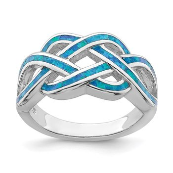 Sterling Silver Rhodium-plated Lab Created Blue Opal Inlay Celtic Knot Ring