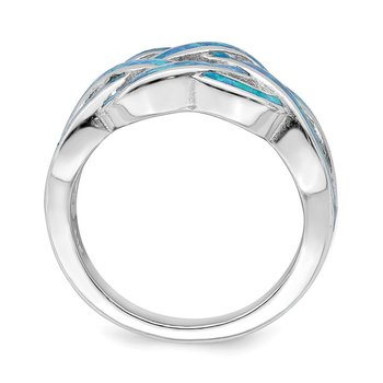 Sterling Silver Rhodium-plated Blue Inlay Created Opal Knot Ring