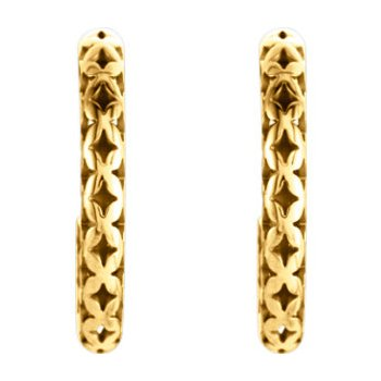 14K Yellow 24.5x2.7 mm Pierced Style J-Hoop Earrings