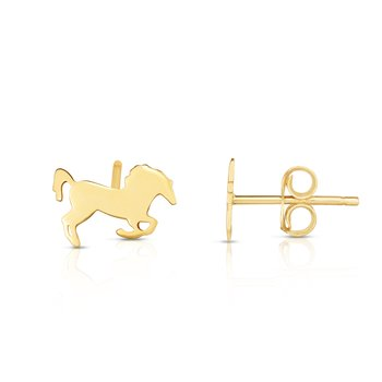 14K Gold Horse Stud Earrings