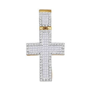 10kt Yellow Gold Mens Round Princess Diamond Raised Edge Cross Charm Pendant 1.00 Cttw