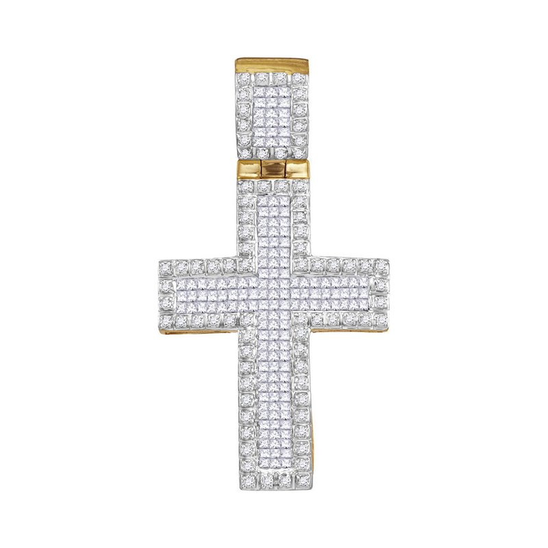 Gold-N-Diamonds, Inc. (Atlanta) 10kt Yellow Gold Mens Round Princess Diamond Raised Edge Cross Charm Pendant 1.00 Cttw