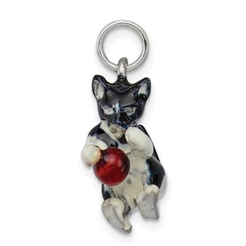 Silver Enamel Cat Playing with Red Ball Charm
