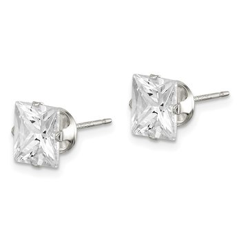 Sterling Silver 7mm Square Snap Set CZ Stud Earrings