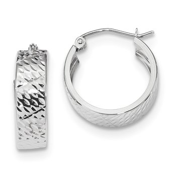 14k White Gold Diamond-cut Hoop Earrings