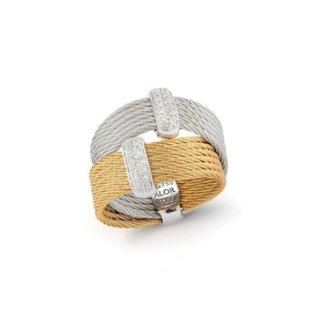 Yellow & Grey Cable Crossed Ring with 18kt White Gold & Diamonds