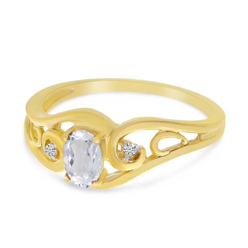 Color Merchants 10k Yellow Gold Oval White Topaz And Diamond Ring