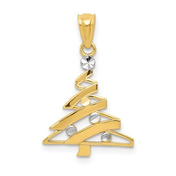 14k w/Rhodium Christmas Tree Pendant