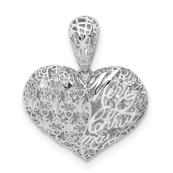 Sterling Silver Rhodium-plated D/C Merry Christmas Heart Pendant