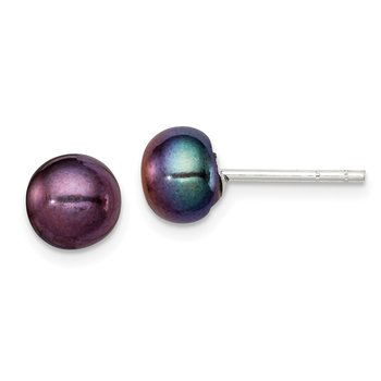 Sterling Silver 7-8mm Black FW Cultured Pearl Button Earrings