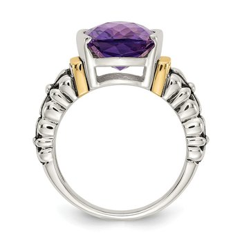 Sterling Silver w/14k Amethyst Cushion-cut Ring