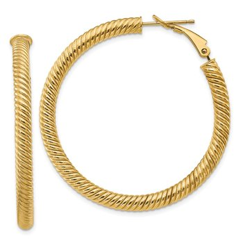 14k 4x35mm Twisted Round Omega Back Hoop Earrings