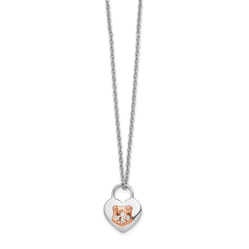 Quality Gold SS White Ice Diamond Rose-Tone Heart Lock 18in w/2in ext. Necklace