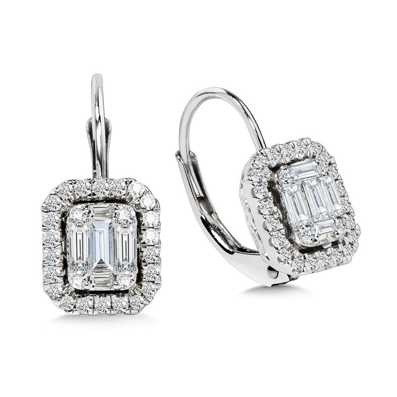 SDC Creations Plumb Collection Baguette and Diamond Accented Earrings
