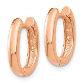 14k Rose Gold Oval Hinged Hoop Earrings