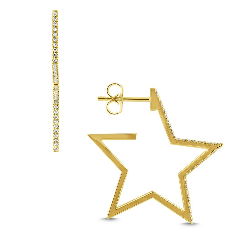 KC Designs Large Gold and Diamond Star Hoops