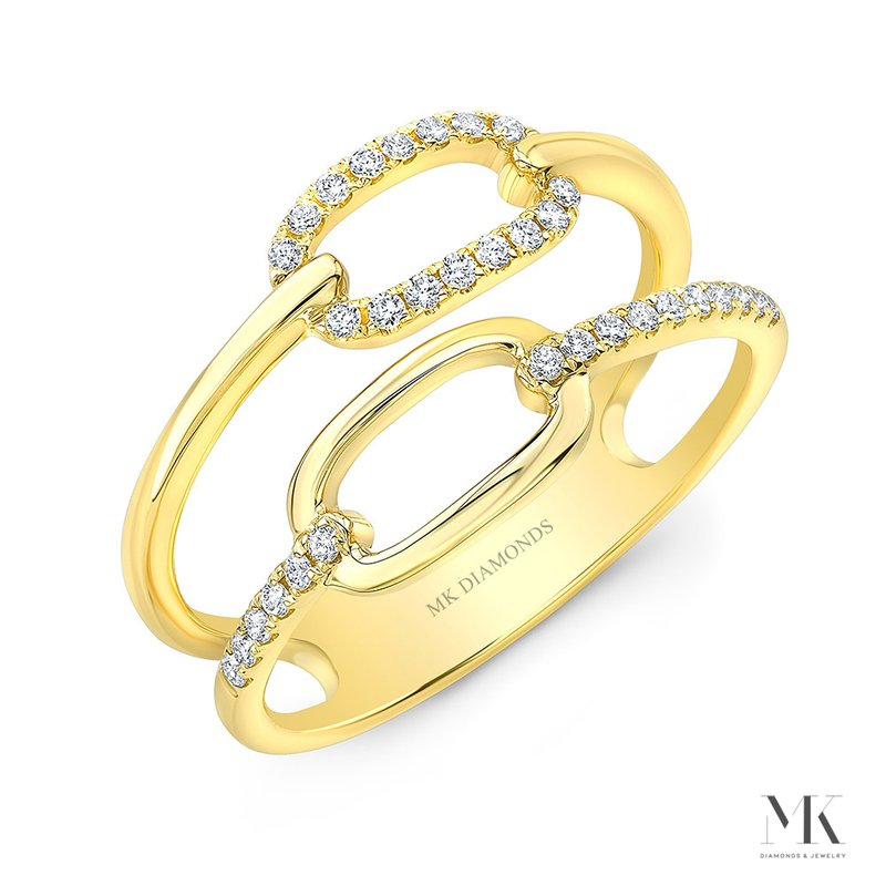 Yellow Gold Double Row Fashion Ring