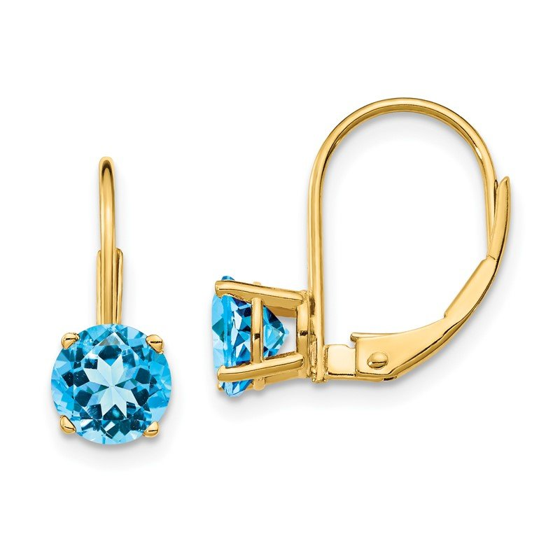 Quality Gold 14k 6mm Blue Topaz Leverback Earrings