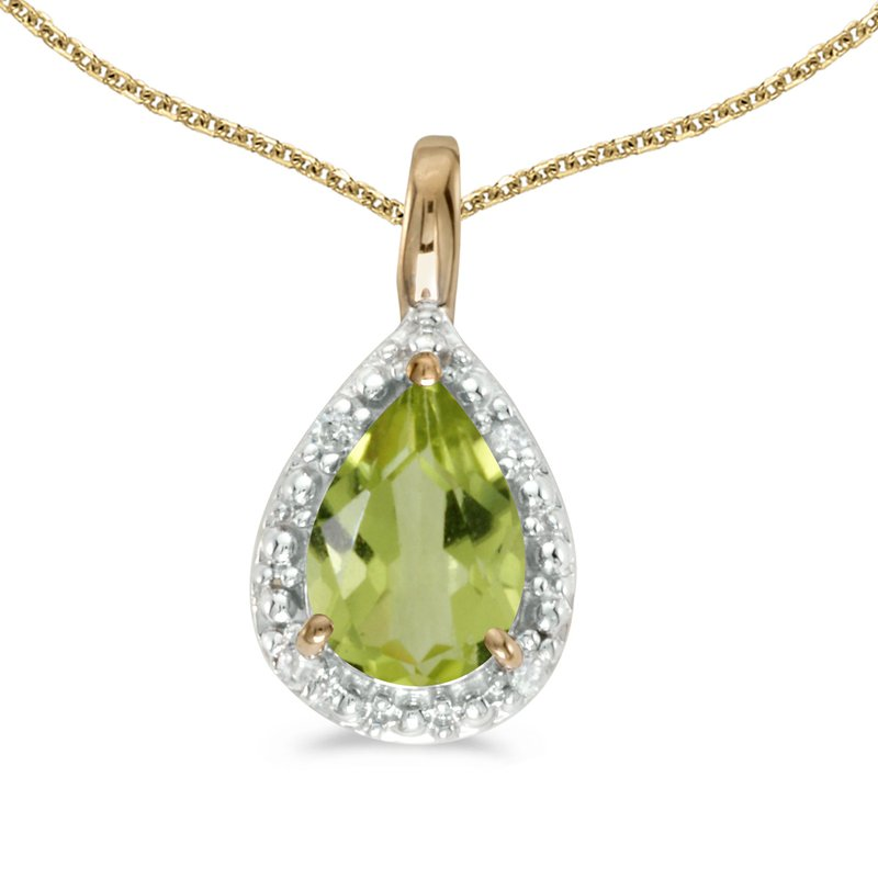 14k Yellow Gold Pear Peridot Pendant