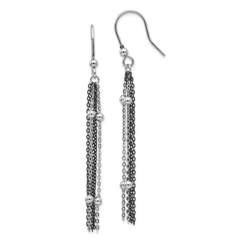 Leslie's Leslie's SS Ruthenium-plated Beaded Dangle Shepherd Hook Earrings