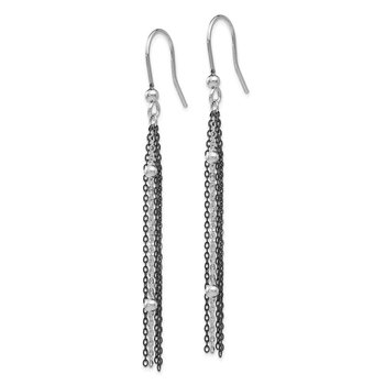 Leslie's SS Ruthenium-plated Beaded Dangle Shepherd Hook Earrings