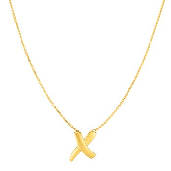 14K Gold Sculpted X Necklace