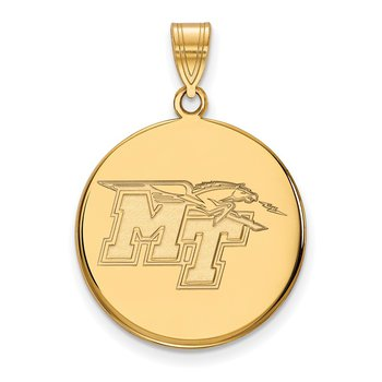 Gold-Plated Sterling Silver Middle Tennessee State University NCAA Pendant