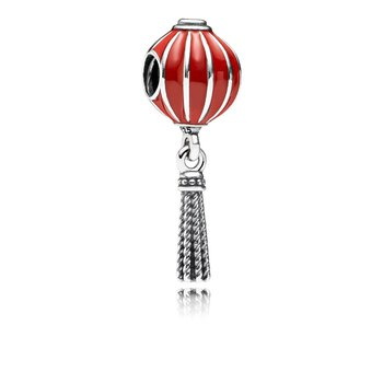 Chinese Lantern Dangle Charm, Red Enamel