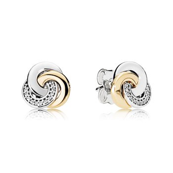 Interlinked Circles Stud Earrings, Clear Cz