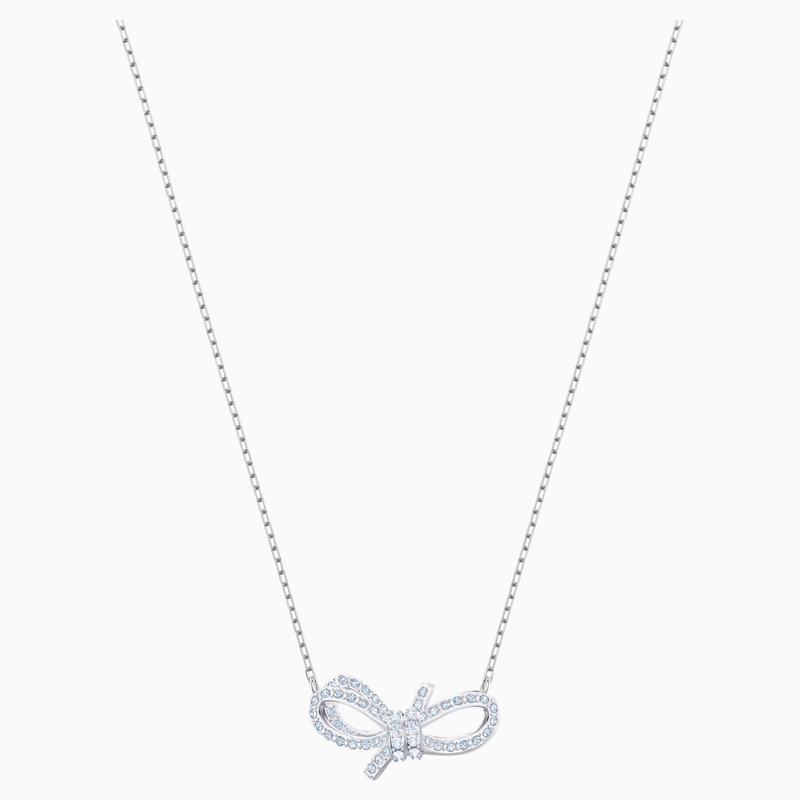 Swarovski Lifelong Bow Necklace, White, Rhodium plated