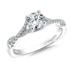 Valina Bridals Mounting with side stones .19 ct. tw., 5/8 ct. round center.