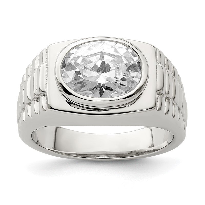 Quality Gold Sterling Silver Rhodium-plated Men's CZ Ring