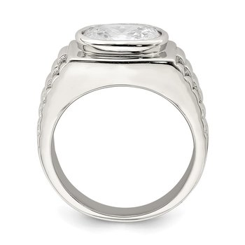 Sterling Silver Rhodium-plated Men's CZ Ring