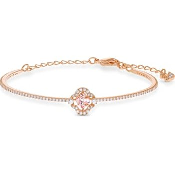 Swarovski Sparkling Dance Clover Bangle, Pink, Rose-gold tone plated