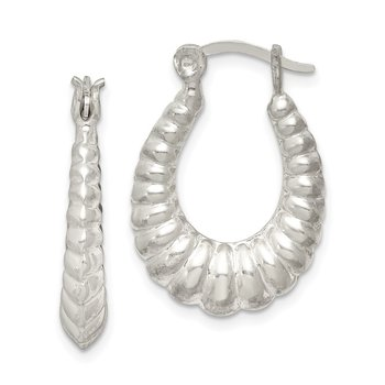 Sterling Silver Scalloped Hoop Earrings