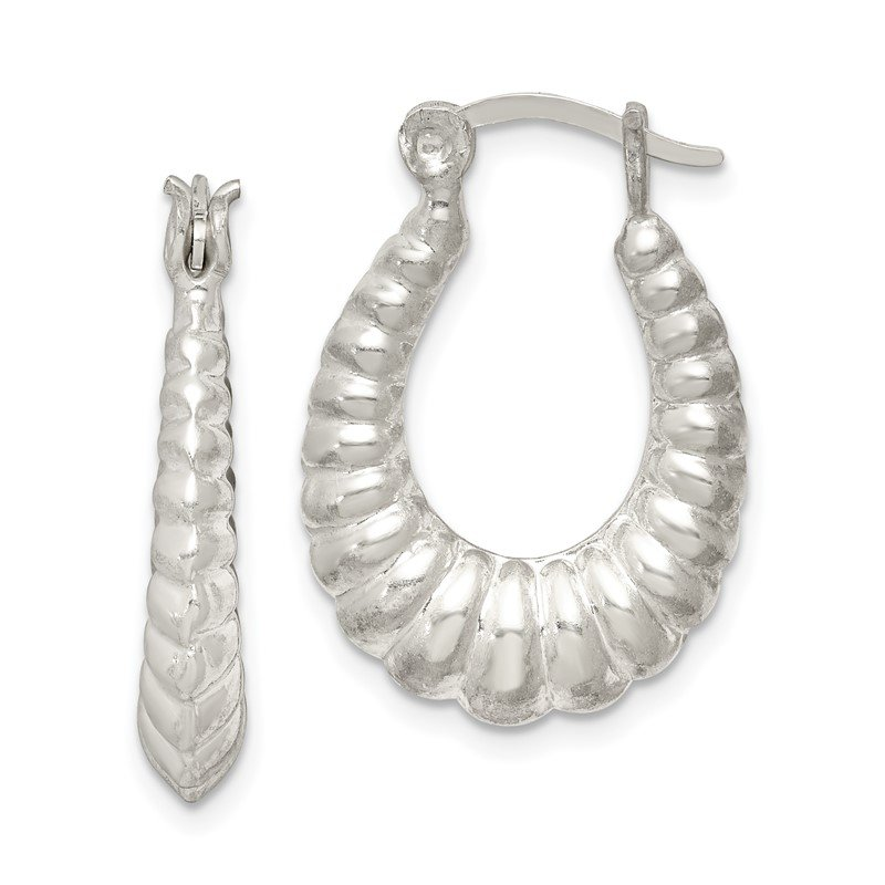Arizona Diamond Center Collection Sterling Silver Scalloped Hoop Earrings