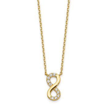14K Infinity Symbol CZ with 2IN EXT Necklace