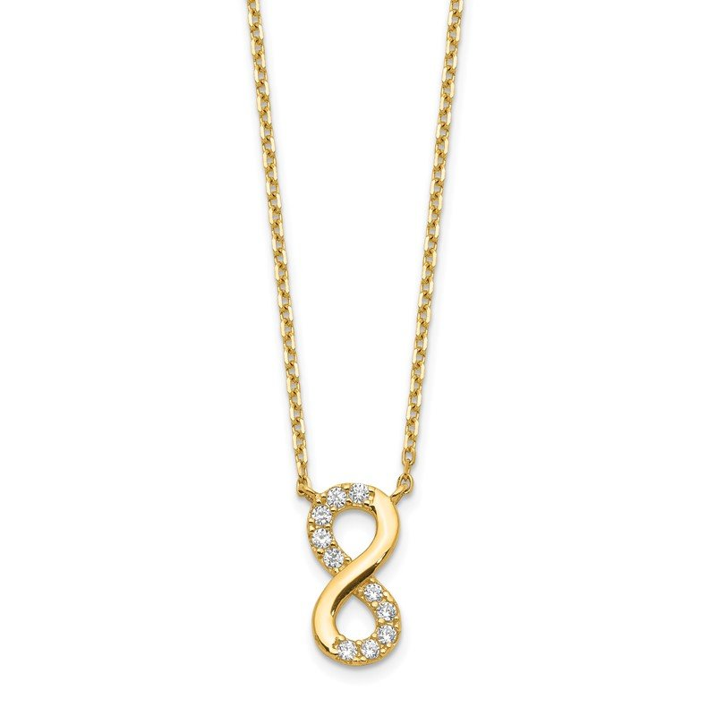 Quality Gold 14K Infinity Symbol CZ with 2IN EXT Necklace
