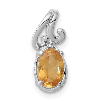 Sterling Silver Rhodium Plated Diamond & Citrine Oval Pendant