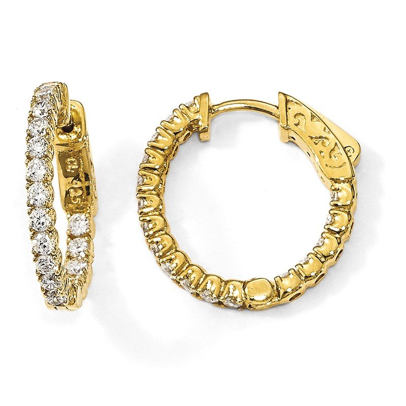 Quality Gold Sterling Silver Gold-tone CZ In & Out Hoop Earrings