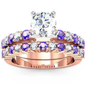 Round Diamond & Tanzanite Wedding Band