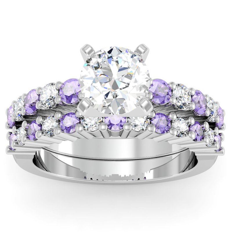 California Coast Designs Round Diamond & Tanzanite Wedding Band
