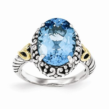 Sterling Silver w/14ky Lt Swiss Blue Topaz Oval Ring