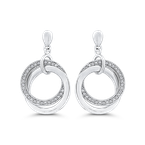 Essentials 10K White Gold Round 1/5 ct Diamond Fashion Drop Earrings
