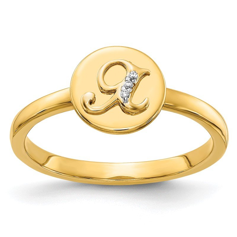 Quality Gold 14k White Gold Diamond Initial X Ring