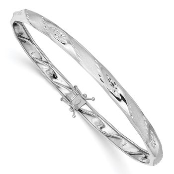 14k White Gold Polished Satin D/C Flexible Bangle