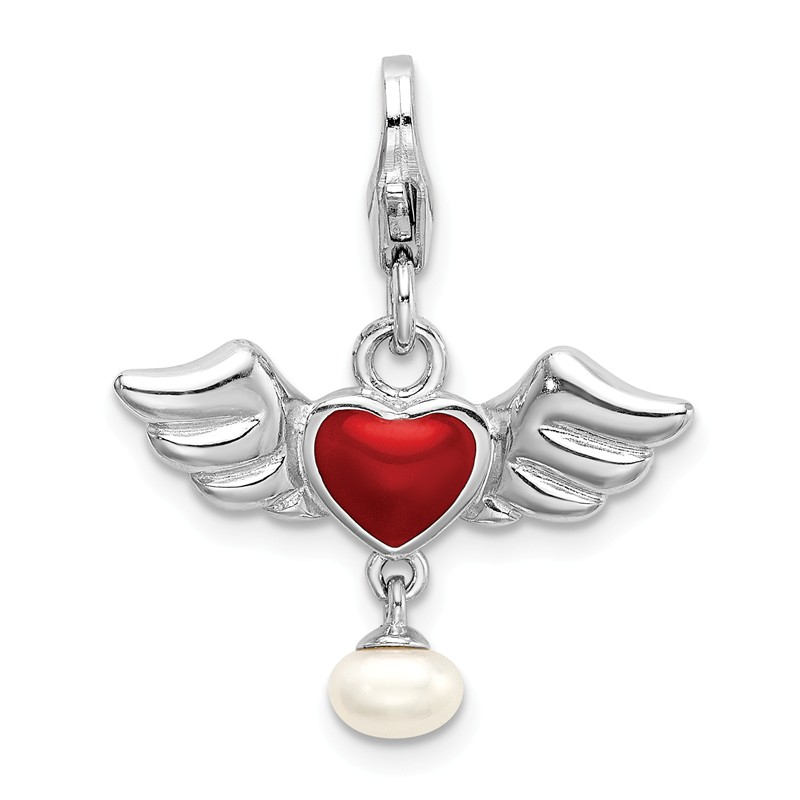 925 Sterling Silver 3D Ice Skate with w//Lobster Clasp Charm